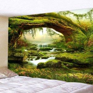 Salon Bedroom 200x için Green Tree Orman Rill Doğal Manzara 3D Desen Peyzaj Halılar Ev Dekorasyonu Asma Doğal Goblen Duvar