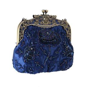 DesignerShiny Sequined Frau Abendtasche Luxuriöse Clutch Handtasche Geldbörse Retro alte Shanghai-Art mit Cheongsam Fest mit Perlen verziert bauschen