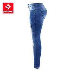 Размер Youaxon EU Ripped Fading Jeans Женского Плюс Размер Эластичный Джинсовые Узкие Проблемные джинсы для женщин Жан брюки карандаш CX200815