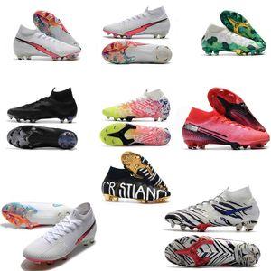 Mercurial Superfly VI 360 Elite FG Flash Crimson Kids Football Boots CR7 Ronaldo Neymar Mens Mujeres Fútbol Zapatos de Fútbol Botas de Fútbol Clases
