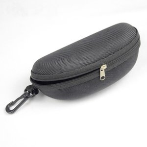Hot Wholesale Oxford cloth black glasses case sunglass protection box EVA Zipper eyeglass package sunglasses case with hook eyewear accesso