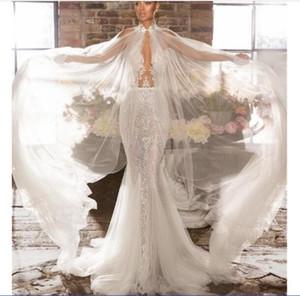 Elihav Sasson Mermaid Wedding Dresses With Wrap Lace Appliqued Sheer Neck Bohemian Wedding Dress Illusion Backless Boho Bridal Gowns
