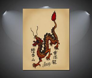 La decoración del hogar Vintage Oil tatuaje del dragón chino Sailor Jerry pintura sobre lienzo de arte cuadros de la pared arte de la lona de la decoración 200904