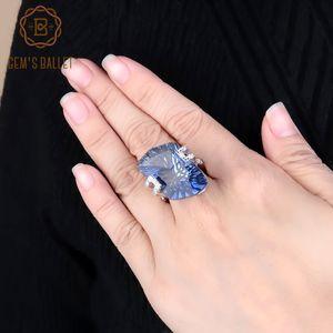 Gem Ballet 5.21Ct irregolare naturale Iolite Blue Mystic pietra preziosa del quarzo Anelli Argento 925 gioielli cocktail Belle donne