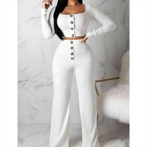 2pcs Women Set Solid Crop Top T shirt Long Pants 2 Pieces Sets Women Autumn Clothing Suits Female