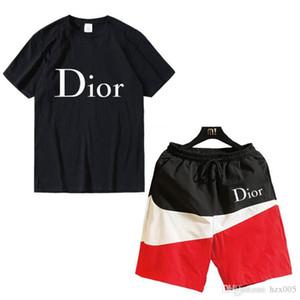 Erkek Designe Internationalr Moda Eşofman Dior Mektupları Nakış lüks Yaz Spor Kısa Kollu Jogger Pantolon Suit Sportsuit