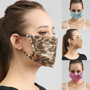 Bling Bling Sequin Mask Fashion Leopard Face Mask Washable Rhinestone Designer Masks DHL Fast Shipping 4 Colors