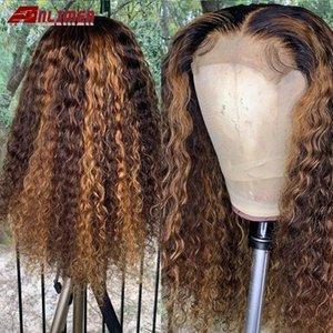 Выделите парик Honey Blonde кудрявый парик человеческих волос Ombre Цветные 13x6 фронта шнурка человеческих волос Парики для женщин бразильского Remy