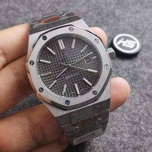 Audemars Piguet ap 6 Стиль Высокое качество Черный Sapphire Мужские часы 41мм автоматические движения Мода механические часы ROYAL OAK 15400 Наручные часы NpB2 #