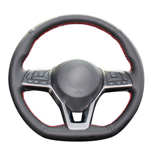 Hand-stitched Black Artificial Leather Car Steering Wheel Cover for Nissan X-Trail Qashqai Leaf Micra Altima Rogue (Sport) car accessories