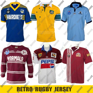 Retro Rugby Jersey 1982 Parramatta Aale 1985 NSW Blues Retro 1998 qld Maroons 1999 Australier `987 Manly Sea Eagles Trikots Größe S - 4XL 5XL