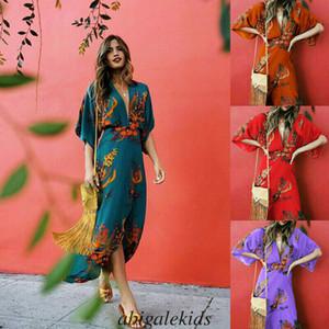 2020 Womens scollo a V Abito a stampa floreale kimono stile mezza manica lunga maxi Boho Ladies Beach Vestido Plus Size