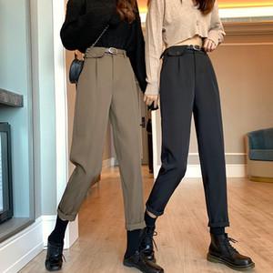 2020 New Autumn Pants High Waist Slim Casual Pants Black Suit Pants Female Straight Tube Capri-Pants Pipe