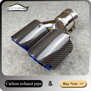 BİR ADET: Otomobil Egzoz Sistemi Parlak Karbon fiber Çift Egzoz ipuçları / susturucu boru Yanmış mavi Evrensel Susturucu Nozullar