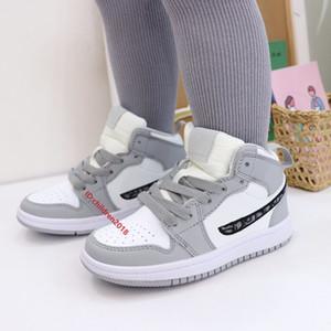 Jumpman 1 1s Bambini Scarpe da basket per ragazzi ragazze sneakers luce fumo grigio fortunato verde laser laser arancione scarpe da ginnastica impavido formatori taglia 22-35