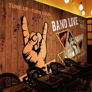 Wall Paper Europeo Retrò Rock Bar KTV decorazione industriale 3D Cafe Music Restaurant Marrone Legno Grain Background murale 3D Wallpaper