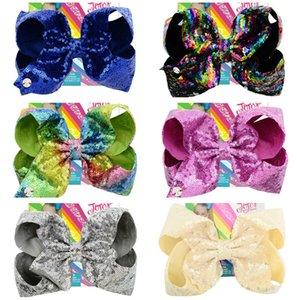 8 İnç Jojo Siwa Pullarda Tokalarım Sevimli Renkli Firkete ilmek Glitter Saç Klipler Çocuklar Toka Headress Saç Aksesuarları Butik D6410