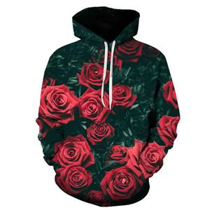 Fashion Rose Hoodie Unisex 3D Print Rose Sweatshirt Men's Pullover Casual Shirt Sportswear