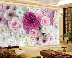 3d Wallpaper Living Room Pink Roses Colorful Roses Chrysanthemum Romantic 3D Silk Wall Coverings