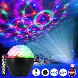 KTV Sahne Parti USB Lazer Kristal Ses Kontrol Konuşmacı Renkli Yıldızlı Gökyüzü Projektör Gece Işığı Bluetooth Müzik Çalar Magic Ball LED