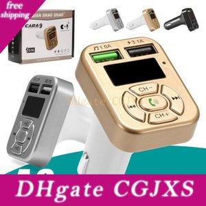 Suporte Adaptador Bluetooth Rádio Transmissor FM A9 Bluetooth Car Kit Mãos Livres Fm Led Car TF cartão adaptador USB Flash Drive Aux Input / Output