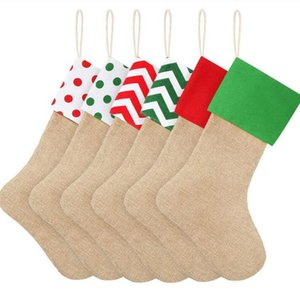 Striped Christmas Gift Stocking 9 Styles 12*18inch Canvas Gift Bags Xmas Stocking Burlap Decorative Socks OOA8298
