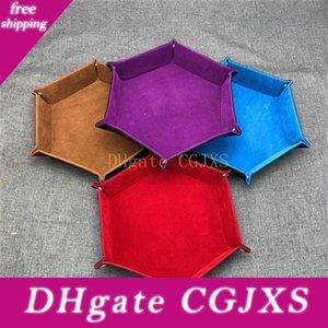 Hexagonal dispositivo de almacenamiento de la caja de la PU de cuero plegable Caja de almacenamiento plegable Dados los Rolling bandeja para los juegos de mesa