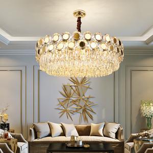 Современные хрустальные люстры Led Lighting Gold Metal Гостиная светодиодные подвеска люстра свет Dining Room Led Подвесной светильник Крепеж