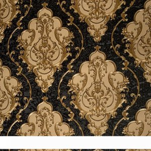 Luxury High Grade Black Gold Embossed Texture Metallic 3D Damask wallpaper for wall Roll washable Vinyl PVC Wall Paper