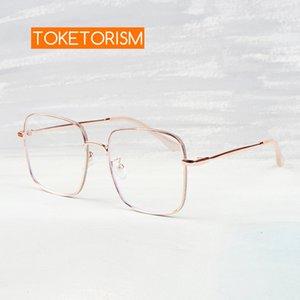 Очки Optical Toketorism Световой рамы Очки Модный дизайн для женщин Большие синие металлические очки Repwa