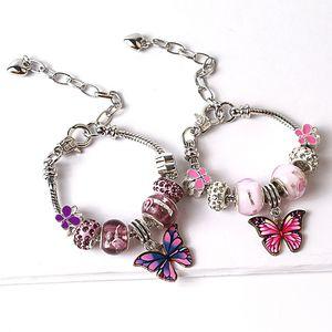 Borboleta Charm Bracelet para o presente de Natal encantos Contas Mulheres Vintage Bracelet Animais pulseiras amo meninas Boho Punk Jóias