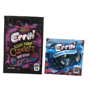 Hot 500mg Errlli Gummi Sharks embalagem comestível 600mg Sour Terp Crawlers cheiro prova sacos ogivas skittles edibles doces vazio sacos de Mylar