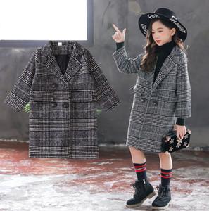 Niños a cuadros zanja niñas princesa capa de lana larga niños outwear la solapa de la manga larga caliente de la capa espesa el estilo lady A4479 ropa del cabrito