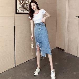 jpSU7 wGyD9 2020 vestito sexy one-step skirt buco hip-coperto gonna- linea di one-step denim di lunghezza media A 9009 #