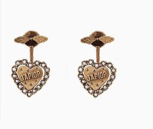 Have stamps fashion letter bee hoop diamond stud earrings aretes for mens women party wedding lovers gift jewelry for bride with box HB618