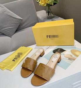 2020 New Summer Slippers Low Heels Slides Female Peep Toe Heel Slipper Brand Sandals Women Slipper Big Size Flip Flops designer FF