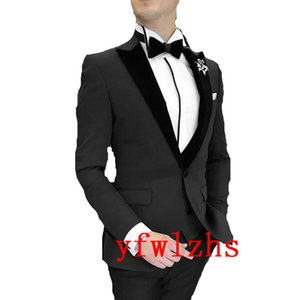 Custom-made One Button Groomsmen Peak Lapel Groom Tuxedos Men Suits Wedding Prom Dinner Best Man Blazer(Jacket+Pants+Tie+Vest) W383