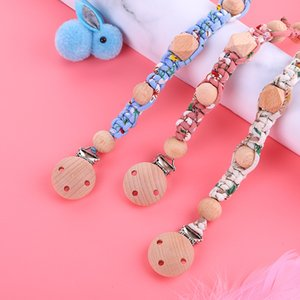 Baptème en gros tissé main Tissu imprimé coton Pacifier chaîne Porte-tétine de bébé mignon Molar bâton sensoriel Jouets enfants cadeau Fda