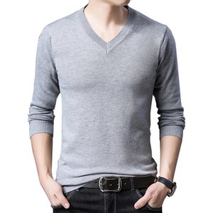 BROWON Marque Pull Automne Slim Fit Pulls Hommes Casual Couleur unie Pull col V Pull gris noir Pull Hommes Pull