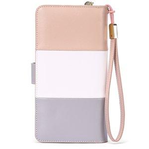 Kadın Patchwork Kayış İnek Deri Fermuar Para Uzun Cüzdan Kadın Debriyaj Çanta Cüzdan Kadın Çantası Carteira iPhone 11 Çanta GOEMA için