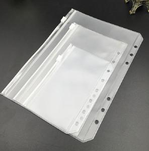 A6 Dizüstü Bilgisayarlar için Clear Punclu Binder Cepler 6 Delik Fermuar Gevşek Yaprak Torbaları PVC Buzlu Dizüstü Ekler Belge Depolama Klasörleri Organize
