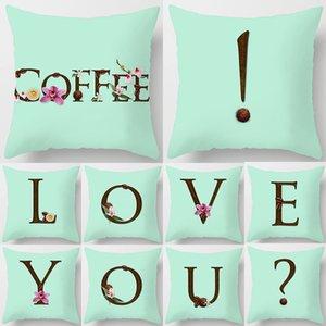 26 Lettres anglaises Coussin Menthe café Taie 45x45cm polyester cas canapé-lit décoratif Taie pour décembre Accueil