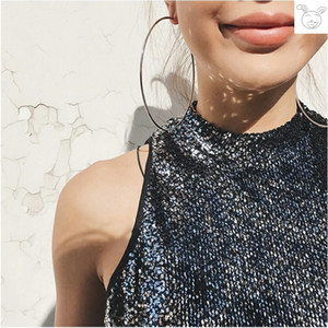 Free Shipping Internet Celebrity Oversized round Ring Earrings Nightclub High-Key Dignified Retro Ring 10cm Ear Ring