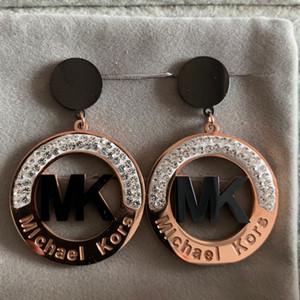 Nuovo top fashion design di lusso in oro rosa piena di diamanti in acciaio inossidabile 316L ciondola goccia orecchino dei monili per le donne di fidanzamento regalo di nozze