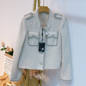 Crop Top Weiß Tweed-Jacke 2020 Herbst-Winter-Stehkragen Einreiher Frauen-Wolle-Jacke und Mantel Overcoat Kleidung