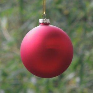 Diameter=8cm Matte Red Christmas Glass Ball Inner Silver Painting Christmas Tree Hanging Decorative Glass Globe