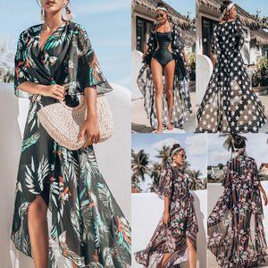 Maillots de bain pour l'été couvrante Bikini maillot de bain en mousseline de soie Plage Imprimer Boho Robe longue