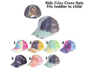 High quality C Cross Hat Ponytail Baseball Cap Criss Cross Washed Cotton Trucker Caps Sunflower Leopard Hats Snapback Tie-Dye Mesh Cap