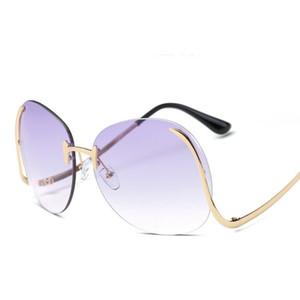 Especial S Z Design Quadro sem aro E Oversize Estilo Moda feminina óculos de sol redondos grandes Cores lentes com proteção UV400