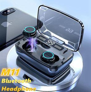 M11 drahtlose Bluetooth Earbuds LED Digital-Anzeigen-8D TWS 5.0 Kopfhörer 3300mAh Powerbank Ladetasche V5.0 Headset Wasserdichte Kopfhörer